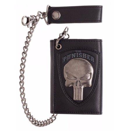 Marvel The Punisher Skull Logo Mens Biker Chain Wallet - Biker Wallet