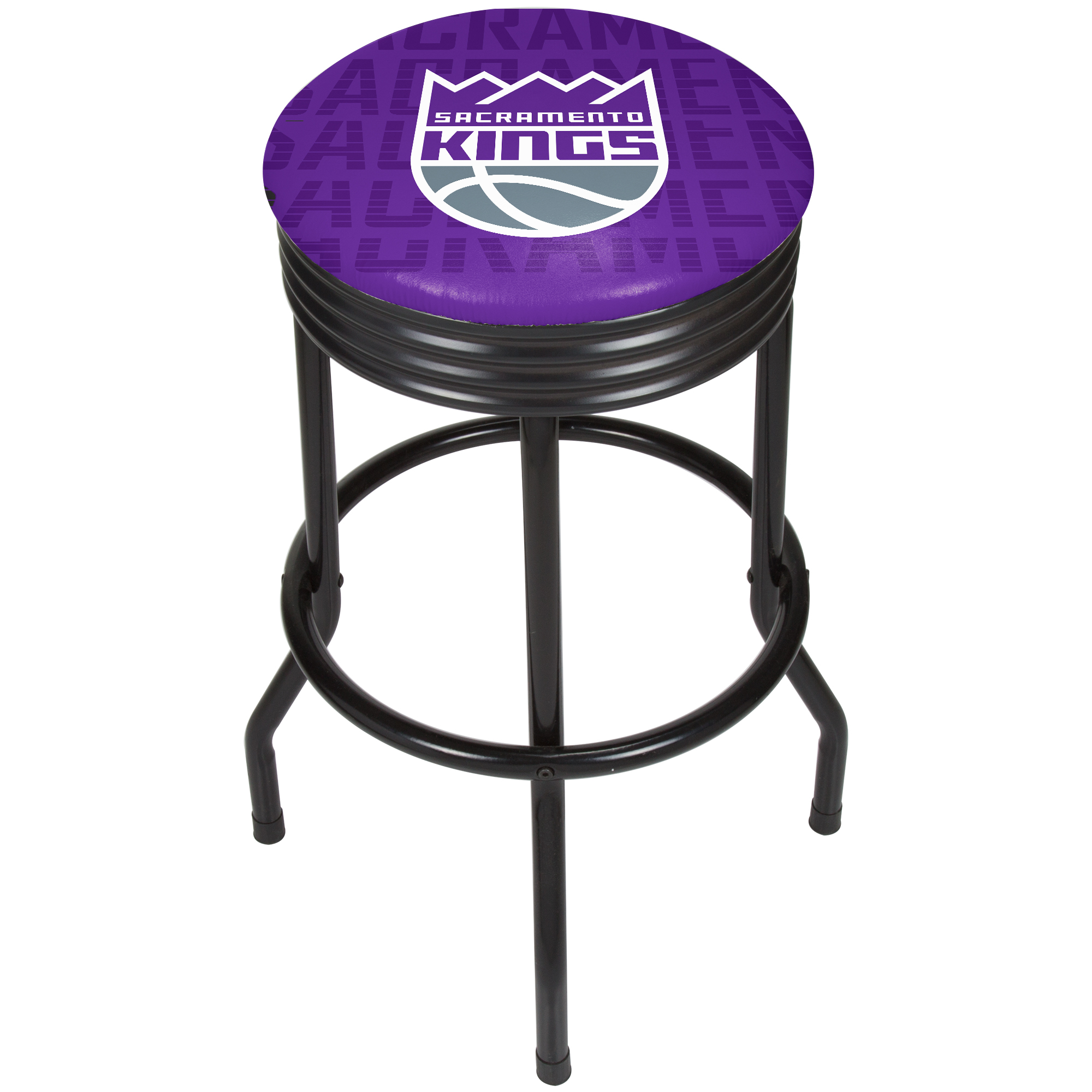 NBA Black Ribbed Bar Stool - City - Sacramento Kings