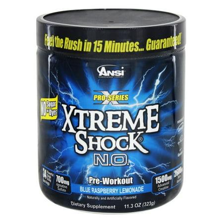 ANSI (Advanced Nutrient Science) - Xtreme Shock NO Pro Series Pre-Workout Blue Raspberry Lemonade - 11.3 onces.