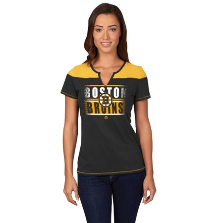 Boston Bruins Black In the Moment Split Neck Women's T-Shirt (Boston Bruin)