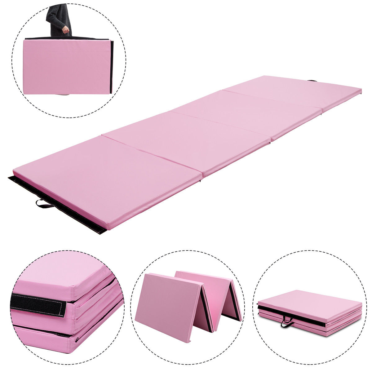 4'x10'x2'' Gymnastics Mat Thick Folding Panel Aerobics Exercise Gym Fitness Pink