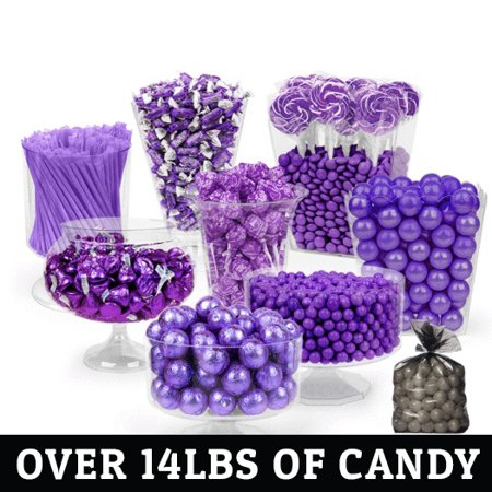 Purple Candy Buffet -  (Approx 14lbs) Includes Hershey's Kisses, Sixlets,Gumballs, Dum Dum Lollipops, Frooties & More (Make A Halloween Candy Buffet)