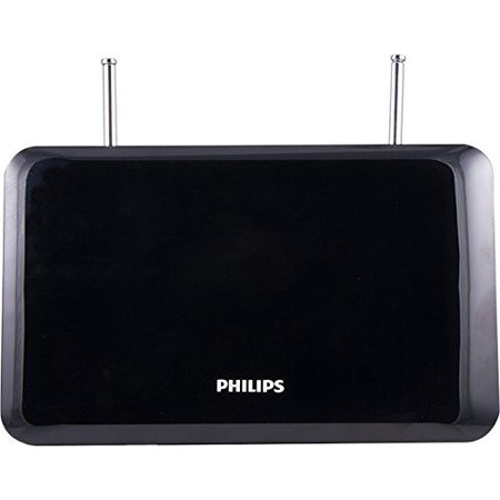 Philips Indoor TV Antenna, Perfect Home Decor, Digital, HDTV Antenna, Smart TV Compatible, 4K 1080P VHF UHF, 6Ft Coaxial Cable, Dipoles, Black, SDV1227B/27