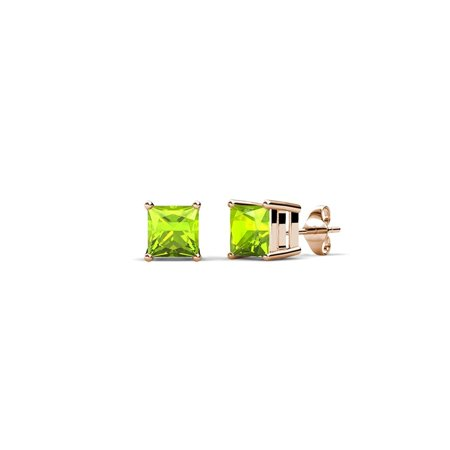 Peridot Four Prong Solitaire Stud Earrings 0.60 ct tw in 14K Rose Gold