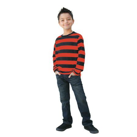 Long Sleeve Red Black Striped Shirt Child XL