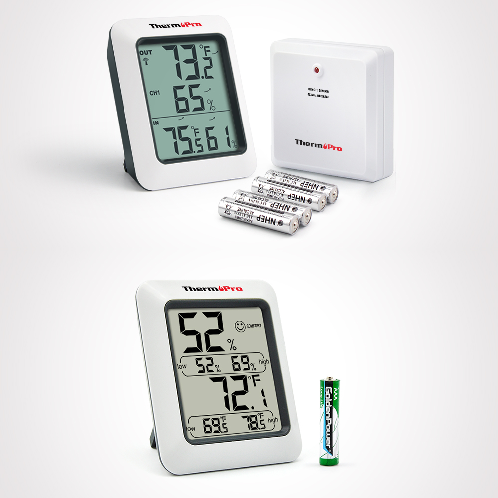 2 Items,ThermoPro Wireless Thermometer Indoor Outdoor Thermometer Temperature Humidity Monitor TP60 &... by