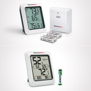 2 Items,ThermoPro Wireless Thermometer Indoor Outdoor Thermometer Temperature Humidity Monitor TP60 & Temperature Humidity Indoor Thermometer TP50