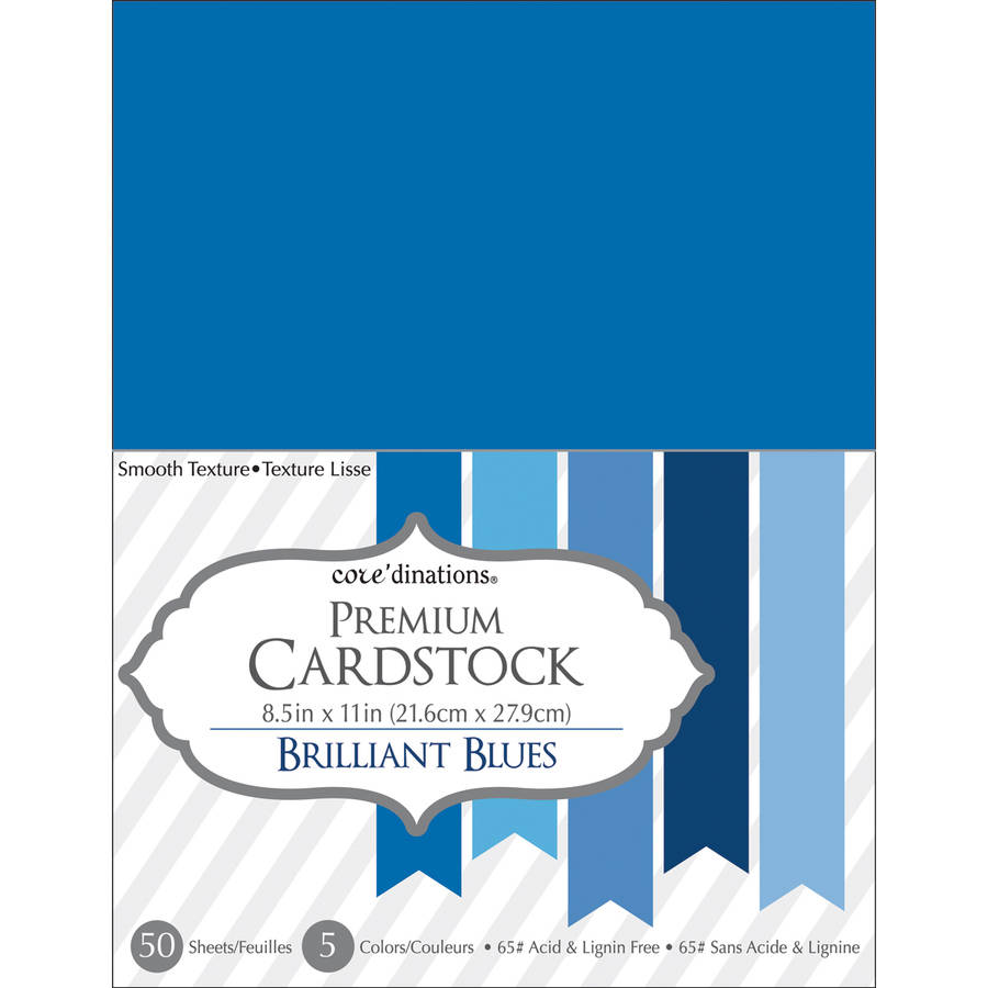 "Core'dinations Value Pack Cardstock, 8.5"" x 11"" 50pk, Brilliant Blue"