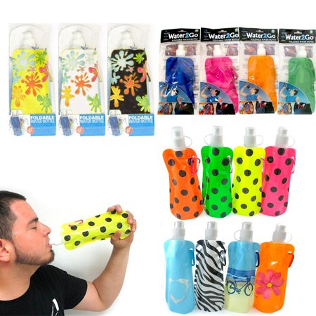 BPA Free Collapsible Foldable Water Bottle Reusable Survival Emergency 16oz New - Small Reusable Water Bottles