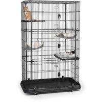 Prevue Pet Products, 4-Tier & 2-Hammock Playpen, Cat Cage, Black, 65-in