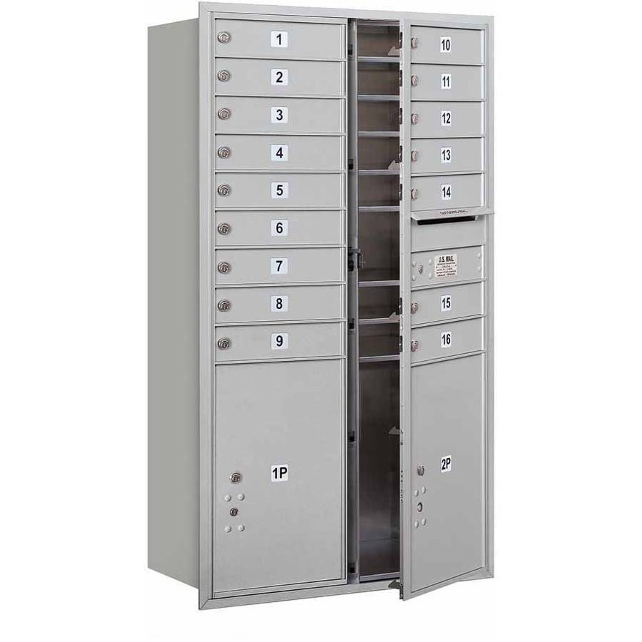 "Salsbury Industries 4C Horizontal Mailbox 15-Door High Unit (55""), Double Column, 16 MB1 Doors, 2 PL6'S, Aluminum, Front Load, USPS Access"