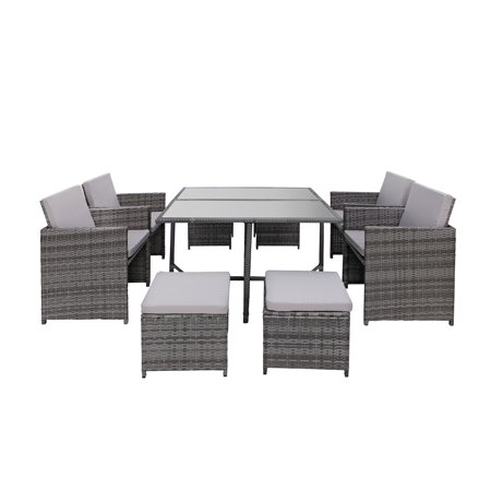 white chairs sets outdoor furniture for small spaces | Modern 8 Piece Space Saving Outdoor Furniture Dining Set ...
