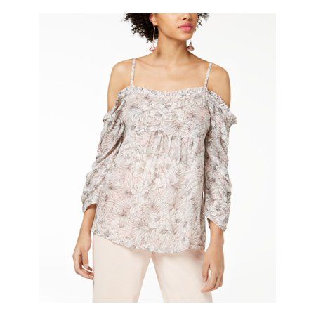 WILLIAM RAST Womens Ivory Ruched Printed Long Sleeve Off Shoulder Top  Size: XL Control Uv Long Sleeve Top