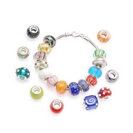 Mujeres Divinas 100pc Lot Silver Lampwork Murano Glass European Mix Beads to Fit Pandora Style Charm Bracelets-Lampwork