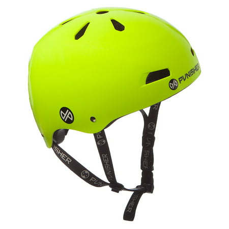 Punisher Skateboards Premium Youth 13-vent Bright Neon Yellow Dual Safety Certified BMX Bike and Skateboard Helmet, Size Medium (Yellow Bike Helmet)