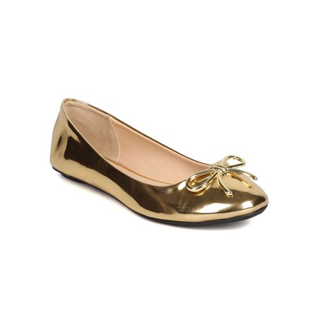 New Women Qupid Bee-22X Metallic Leatherette Round Toe Bow Tie Ballet Flat