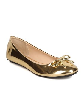 New Women Qupid Bee-22X Metallic Leatherette Round Toe Bow Tie Ballet Flat