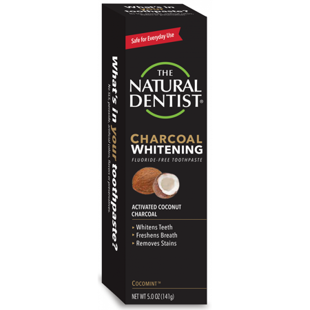 The Natural Dentist Charcoal Whitening Fluoride-Free Toothpaste, Cocomint, 5 Oz Tube