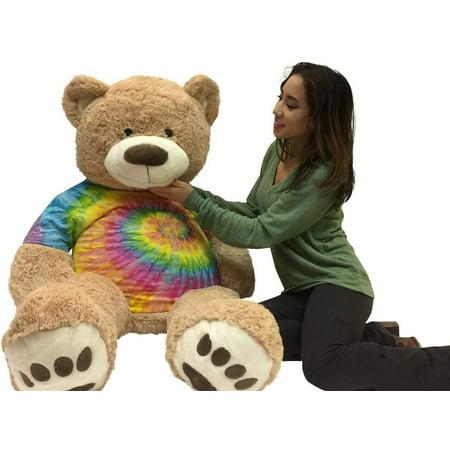 Big Plush 5 Foot Teddy Bear wears removable Tie-Dye Rainbow Color Tshirt