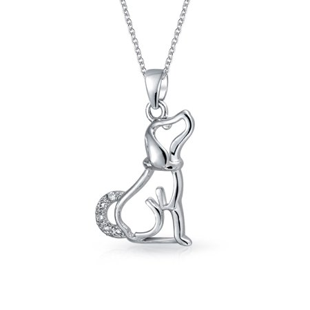 Bling Jewelry Pave CZ Dog Silhouette Pendant Necklace 18in Rhodium Plated](Silver Lab Puppies Uk)