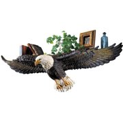 Collections Etc 3D Sculpted Flying Bald Eagle Wall Shelf, Black