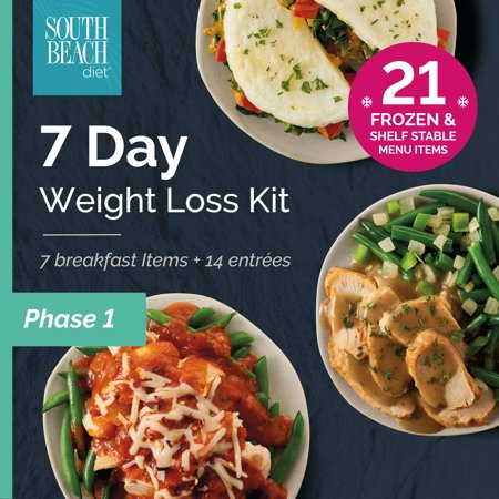 South Beach Diet Phase 1 Frozen + Ready-to-go 7-Day Weight Loss Kit, 21 meals