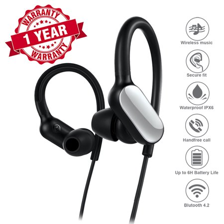 Sport Headphones, Woozik Trail Wireless Earbuds, Bluetooth Headphones with Microphone, Waterproof Stereo Headset for Running, Gym, Workouts (Black)