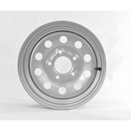 Two Trailer Rims Wheels 13 in. 13X4.5 5 Lug Hole Bolt Silver Modular Design