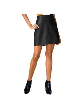 Bar Iii Womens Faux Leather A-Line Skirt