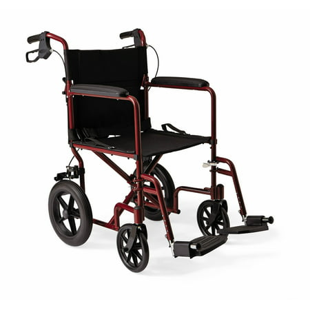 "Medline Lightweight Transport Wheelchair with 12"" Rear Wheels, Folding Transport Chair, 300lb Weight Capacity, Red Frame"