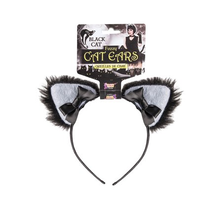 Furry Black Cat Ears Headband - Halloween Cat Ears Diy