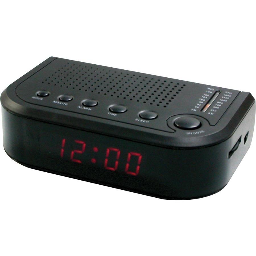 Sylvania SCR1388B-BLACK Compact AM//FM Alarm Clock Radio w// Digital LED