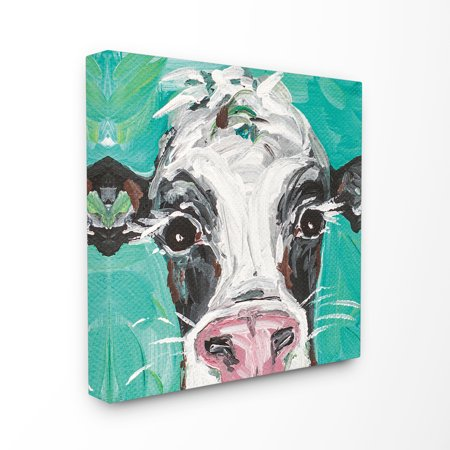 Cow Decor - The Stupell Home Decor Collection Oreo The Painted Cow Stretched Canvas Wall Art, 24 x 1.5 x 24