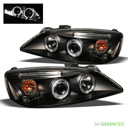 2005-2009 Pontiac G6 Twin Halo LED Projector Headlights Black Head Lights Pair Left+Right  2006 2007 2008