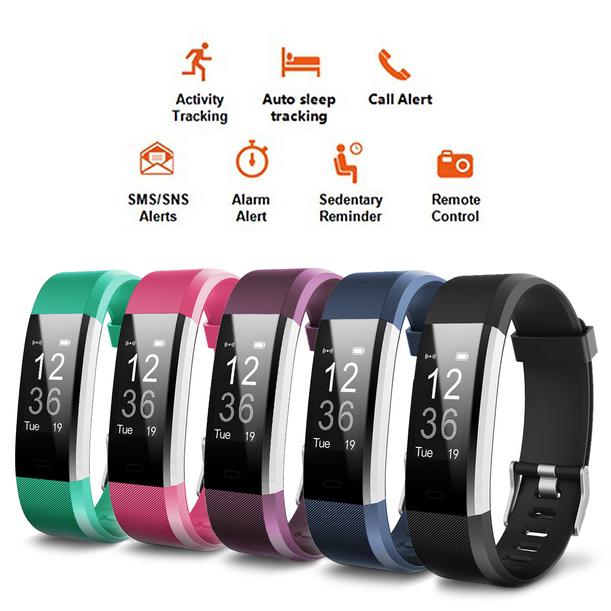 ID115 Plus Smart Band Bluetooth Fitness Activity Tracker Bracelet Sleep Monitor Pedometer Sedentary Call reminder Sports Smart Watch Christmas Gift