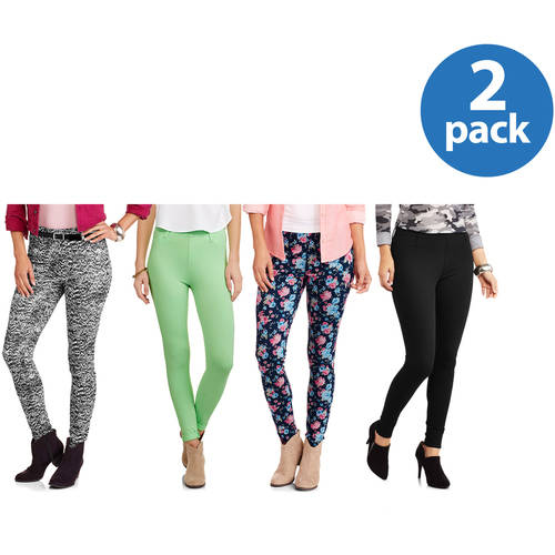 Faded Glory Women's Full Length Knit Color Jegging 2 Pack Value Bundle