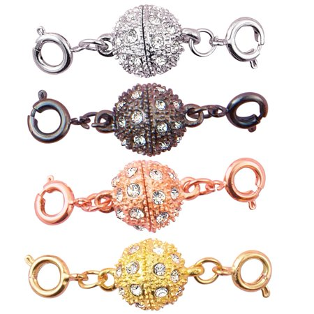Magnetic Sparkling Rhinestone Jewelry Clasps - Set of 4, Self-Aligning Magnetic Ends Allows for Easy Attachment, Circle, Multicolored (Magnetic Necklace Clasp)