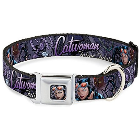 Buckle-Down DC-WCW010-L CWE Cat woman Face Full Color Purple Dog Collar, Large/15-26