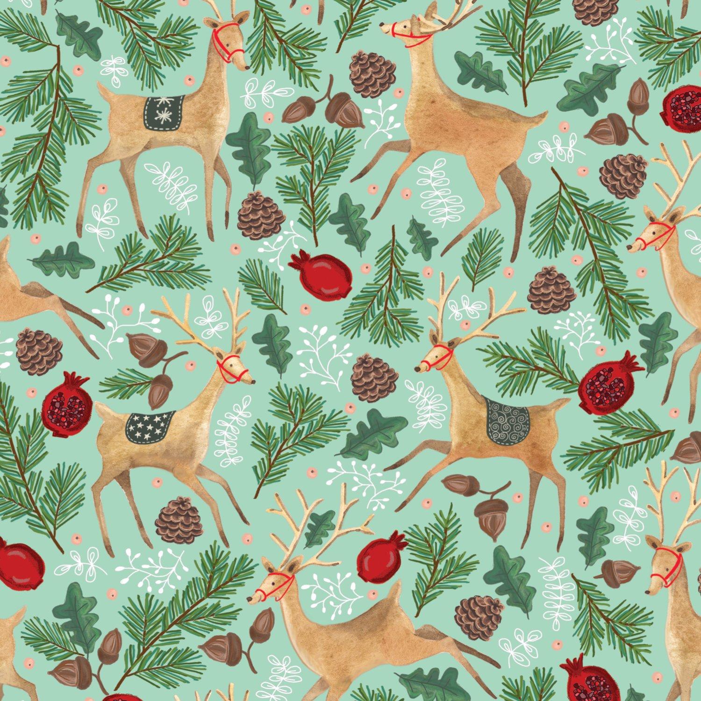 "Jillson & Roberts Bulk Gift Wrap, Reindeer Tapestry, 1/4 Ream 208' x 24"""