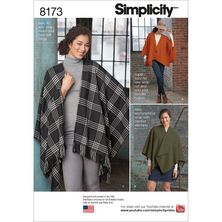 Simplicity Misses' No-Sew Fleece Poncho Wraps Pattern, 1