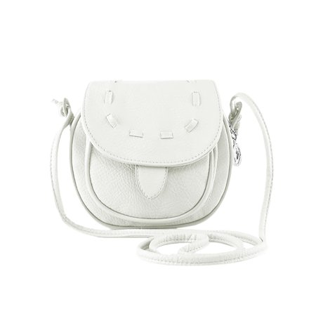 Unique Bargains Women's Flap Top Contrast Stitching Faux Leather Crossbody Bags White ()