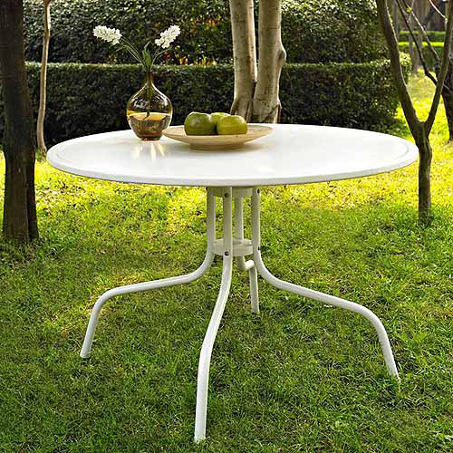"Crosley Furniture Griffith Metal 40"" Dining Table in White Finish"