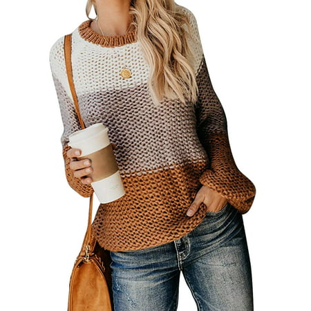 Women Stylish Retro Chunky Knit Jumper Ladies Baggy Sweater Top Oversize Ladies Vintage Winter Warm Long Sleeve Loose Casual Knitwear Blouse Tops Shirt Jumper Pullover Size (Best Lightweight Warm Clothing)