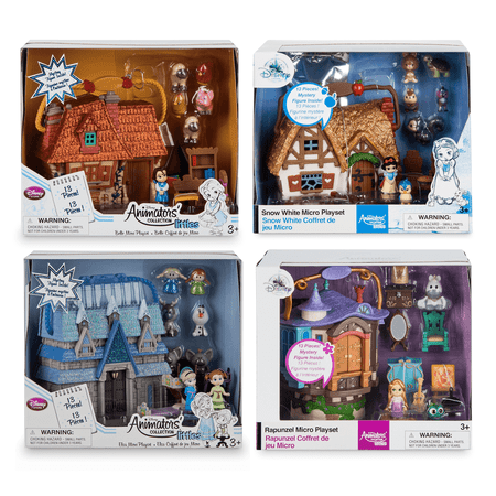 Disney Animators Collection Micro Playset (Collector Set) Frozen Anna & Elsa - Snow White - Beauty and the Beast Belle - Rapunzel Mini Figure Doll House Animated Film Cartoon Movie Toy Collectible