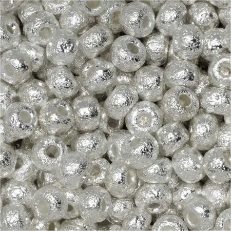 Czech Glass, 6/0 Round Seed Beads, 10 Grams, Etched Fine Silver Plated
