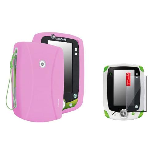 Insten Baby Pink Skin Gel Rubber Shell Case+Clear Protector For LeapFrog LeapPad 2