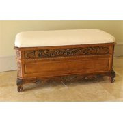 Hand Carved Wood Storage Bench with Cushion