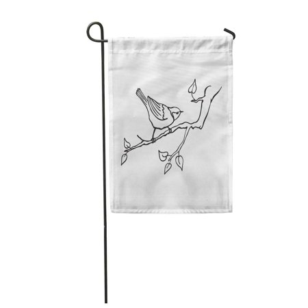 JSDART Tree Bird Sitting on Branch Tit in Line for Coloring Garden Flag Decorative Flag House Banner 12x18 inch - image 1 of 1