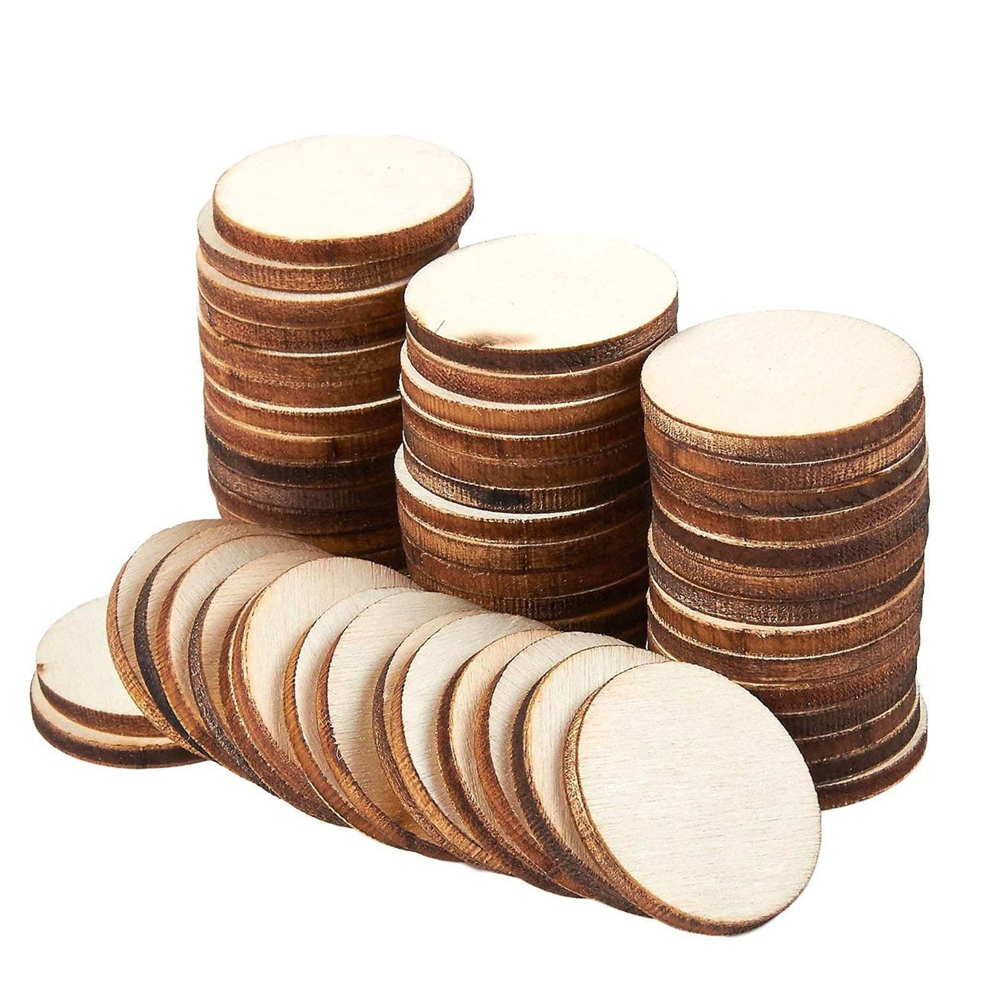Round Wood Cutouts Tiles Discs for Crafts Supplies-4 Inch 24 Pack-Natural Rustic Wood Slice Ornaments to Decorate Circles Ornaments Unfinished Rounds Blank Coasters 4 inch // 10 cm