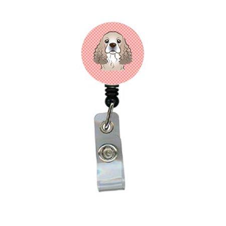 Spaniel Badge (Checkerboard Pink Cocker Spaniel Retractable Badge Reel)